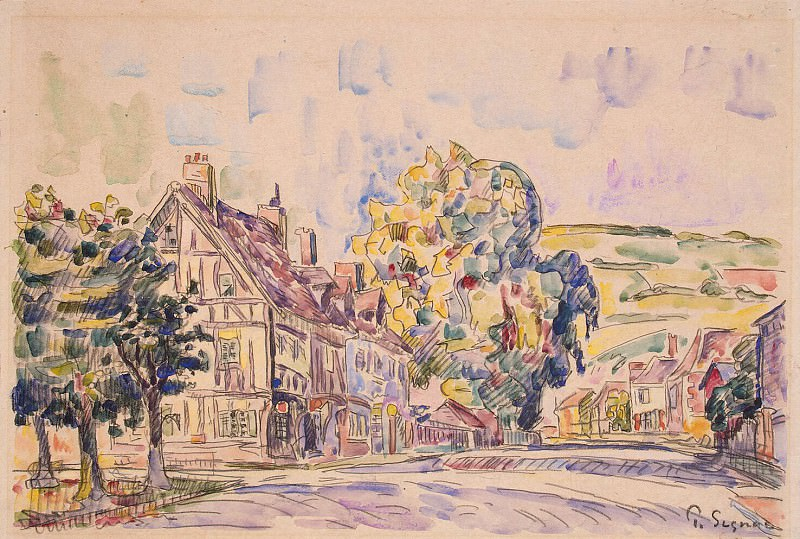 Signac, Paul. Street with half-timbered house in Normandy. Hermitage ~ part 11