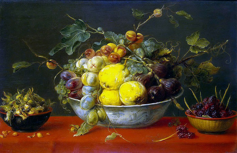 Snyders, Frans. Fruit in a bowl on a red tablecloth. Hermitage ~ part 11