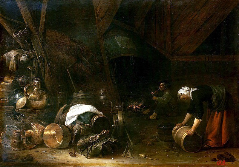 Saftleven, Herman Younger. Internal view of the peasant hut. Hermitage ~ part 11