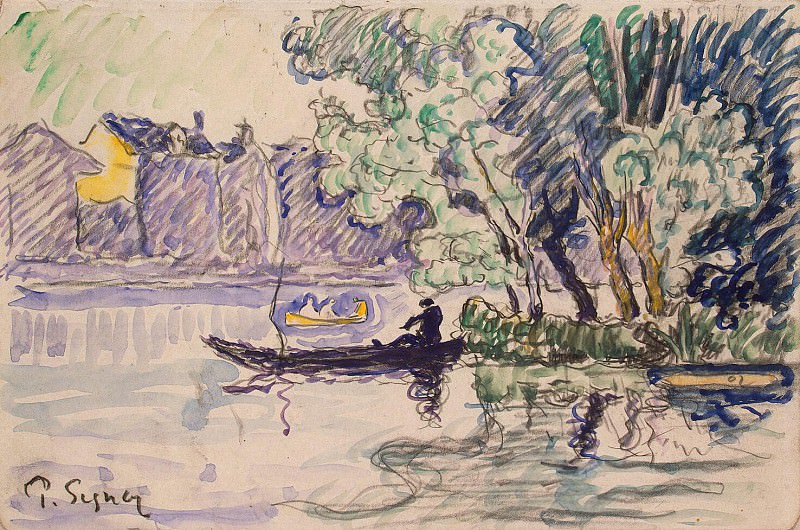 Signac, Paul. Fisherman in a boat on the Seine. Hermitage ~ part 11