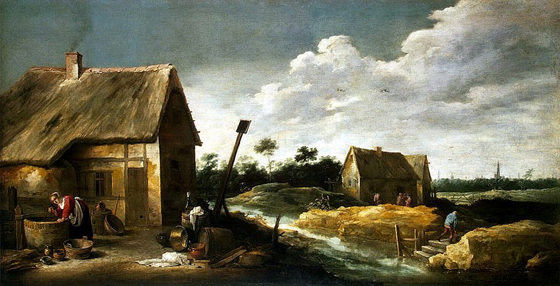 Teniers, David the Younger. Landscape with a maid at the well. Hermitage ~ part 11