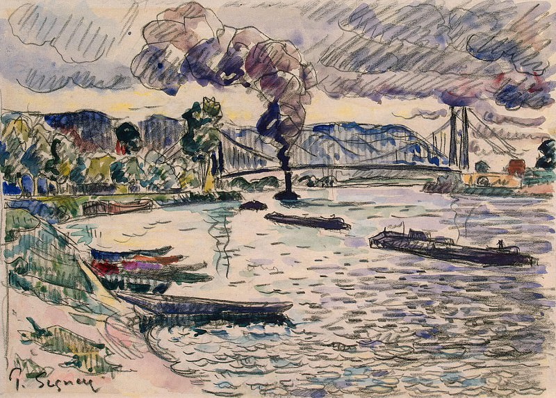 Signac, Paul. Suspension bridge or barges and tugs on the river. Hermitage ~ part 11