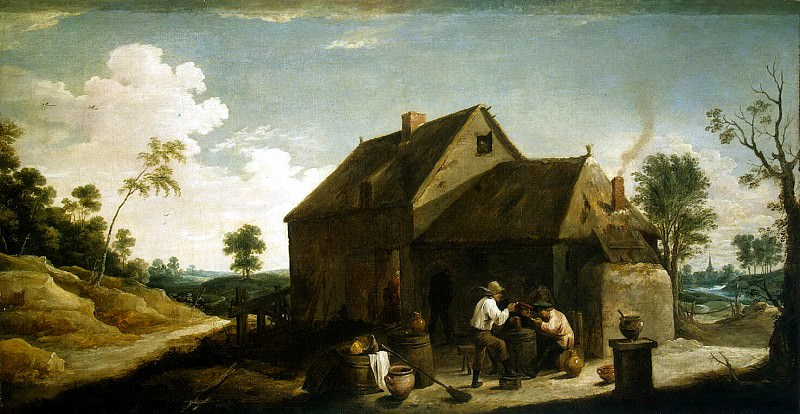 Teniers, David the Younger. Landscape with peasants before the pub. Hermitage ~ part 11