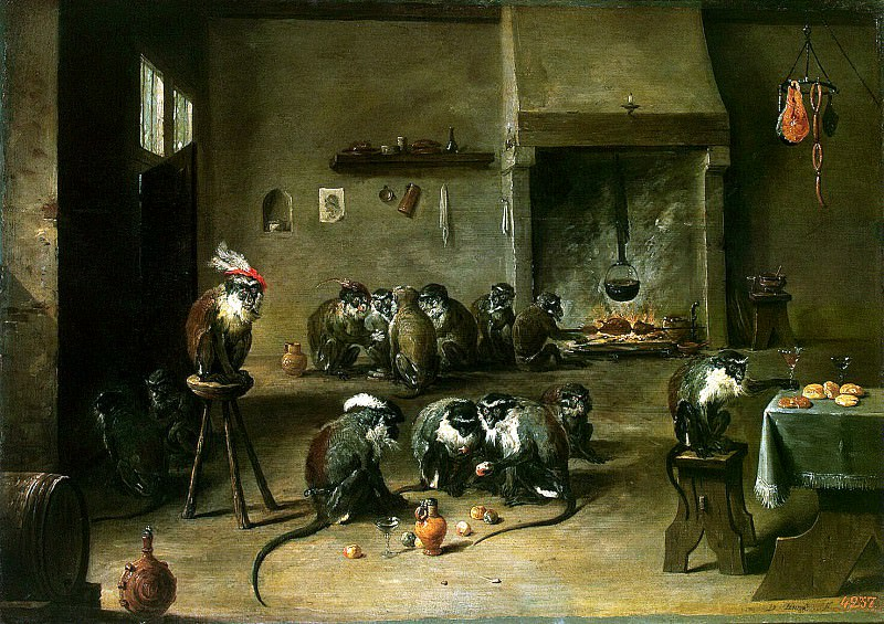 Teniers, David the Younger. Monkeys in the kitchen. Hermitage ~ part 11