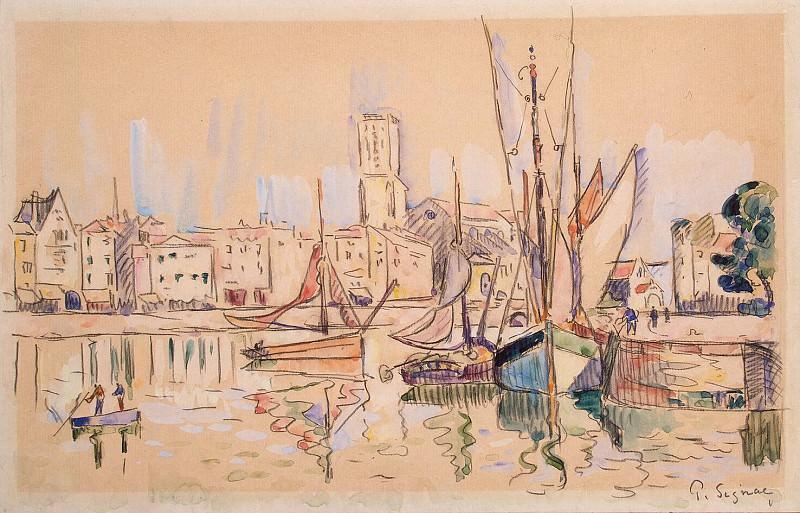 Signac, Paul. Sailing ships berthed in Honfleur. Hermitage ~ part 11