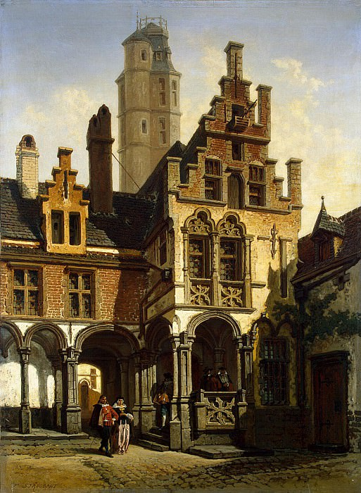 Strobant, Francois. The yard of the palace of Margaret of Austria in Mechelen. Hermitage ~ part 11