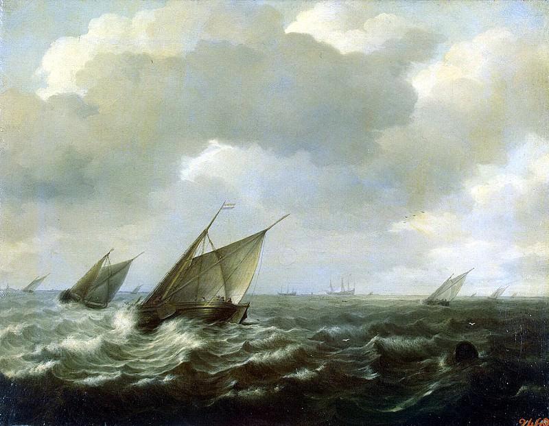 Sorgue, Hendrik Martens. Sailing vessels under strong wind. Hermitage ~ part 11