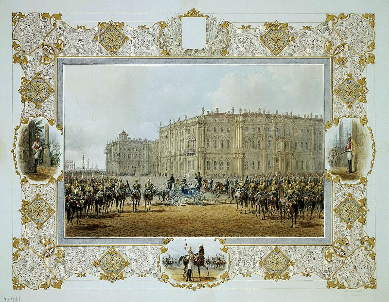 Sadovnikov, Vasily. Wacht-Parade Cavalry Regiment in front of the Winter Palace. Hermitage ~ part 11