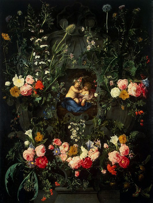 Segerc, Daniel. Garland of flowers surrounding the image of baby Jesus and John. Hermitage ~ part 11