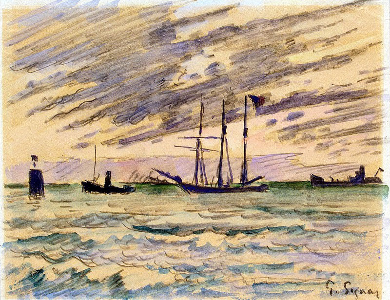 Signac, Paul. Harbour with sailing ships, tugs and barges. Hermitage ~ part 11