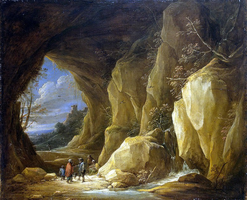 Teniers, David the Younger. Landscape with grotto and a group of Roma. Hermitage ~ part 11