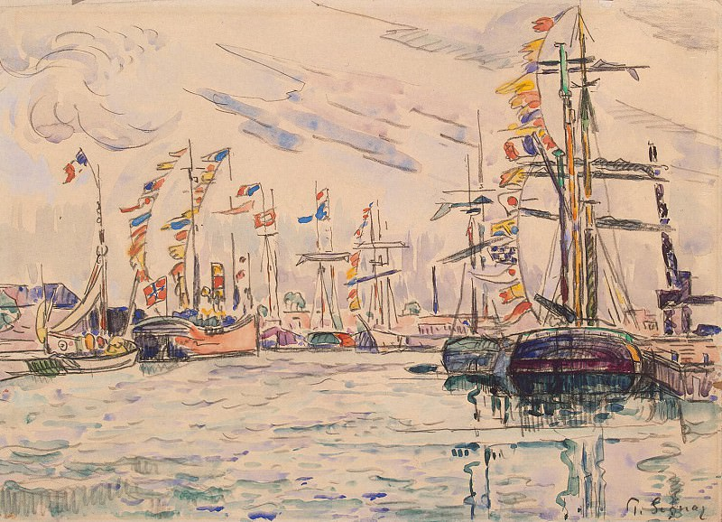 Signac, Paul. Sailing with festive flags on the masts at the quay in St. Malo. Hermitage ~ part 11