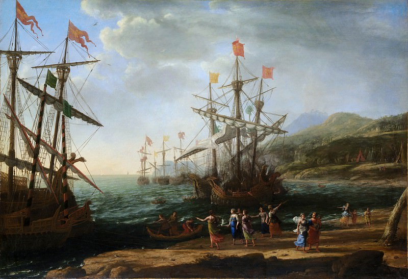Claude Lorrain (French, Chamagne 1604/5?–1682 Rome) - The Trojan Women Setting Fire to Their Fleet. Metropolitan Museum: part 3