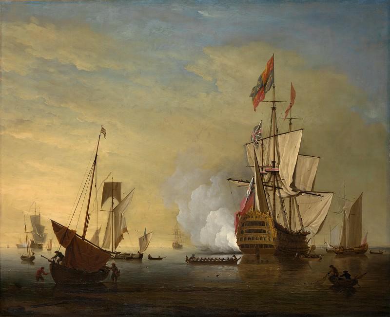 Peter Monamy - Harbor Scene: An English Ship with Sails Loosened Firing a Gun. Metropolitan Museum: part 3