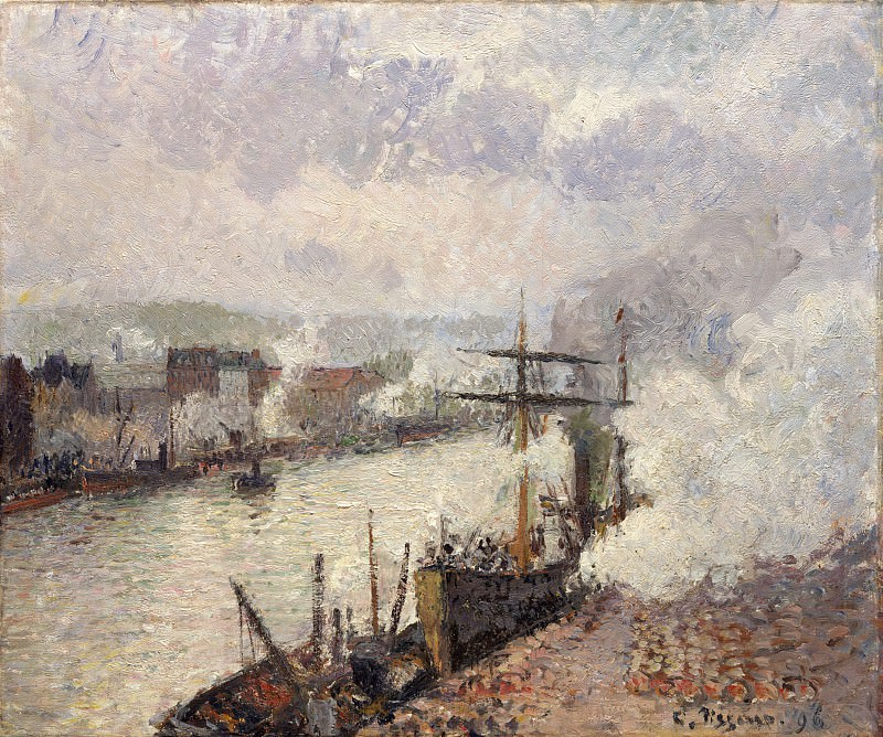 Camille Pissarro - Steamboats in the Port of Rouen. Metropolitan Museum: part 3