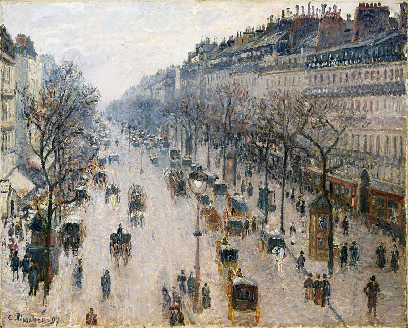Camille Pissarro - The Boulevard Montmartre on a Winter Morning. Metropolitan Museum: part 3