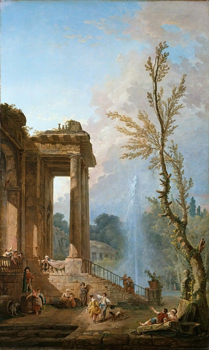 Hubert Robert - The Portico of a Country Mansion. Metropolitan Museum: part 3