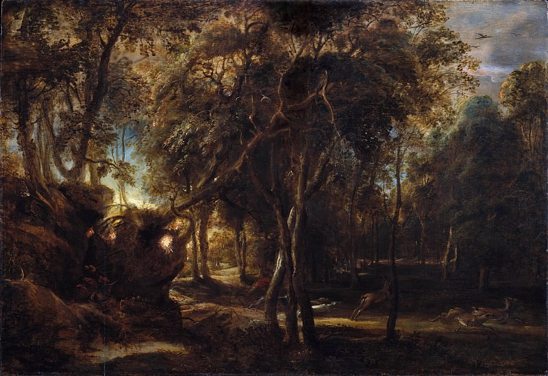 Peter Paul Rubens - A Forest at Dawn with a Deer Hunt. Metropolitan Museum: part 3