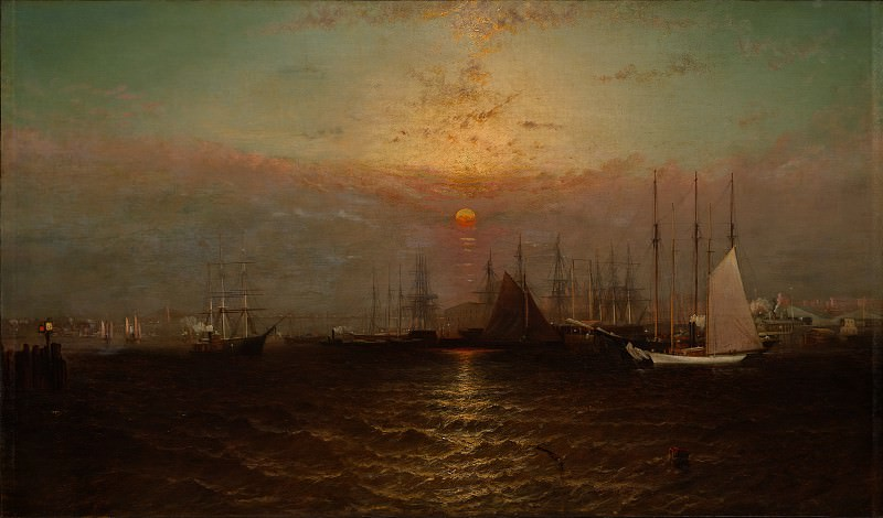 G. Baker - New York Harbor with Brooklyn Bridge. Metropolitan Museum: part 3