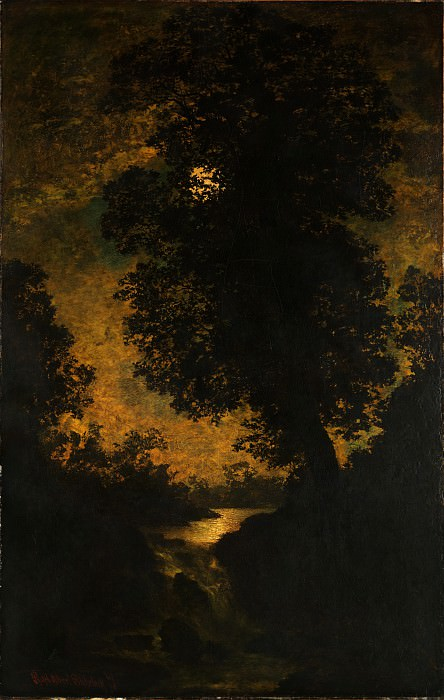 Ralph Albert Blakelock - A Waterfall, Moonlight. Metropolitan Museum: part 3