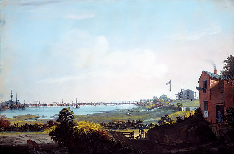 Nicolino Calyo , Naples 1799–1884 New York City) - View of the City of New York and the Marine Hospital Taken from Wallabout. Metropolitan Museum: part 3