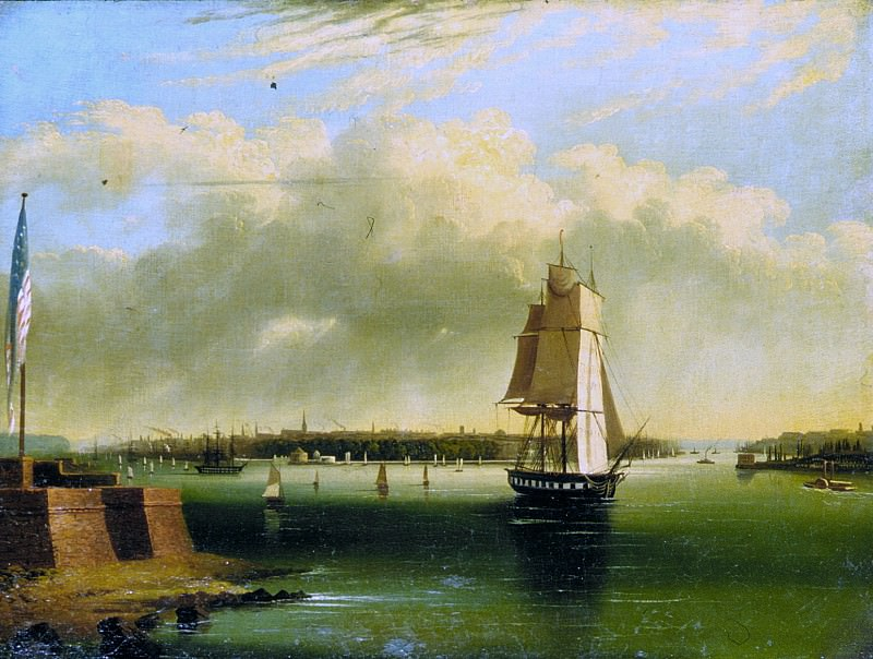 Приписывается Эдмунду Коутсу - Залив и гавань Нью-Йорка с острова Бедлоу. Музей Метрополитен: часть 3