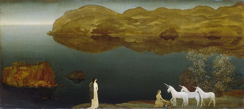 Arthur B. Davies - Unicorns (Legend—Sea Calm). Metropolitan Museum: part 3