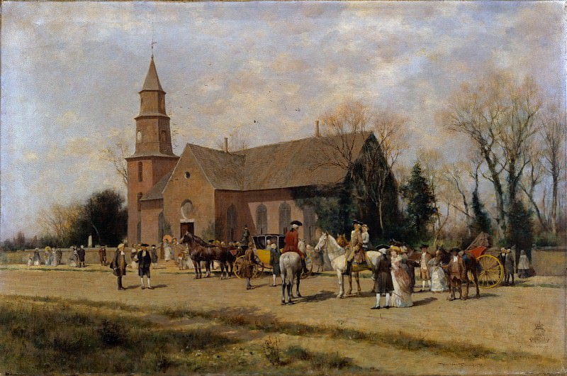 Alfred Wordsworth Thompson - Old Bruton Church, Williamsburg, Virginia, in the Time of Lord Dunmore. Metropolitan Museum: part 3