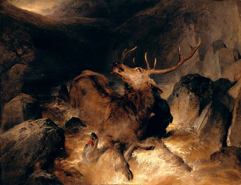 Sir Edwin Henry Landseer - Deer and Deer Hounds in a Mountain Torrent. Tate Britain (London)