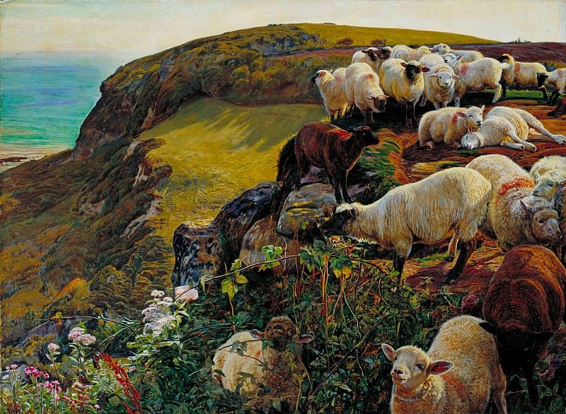 William Holman Hunt - Our English Coasts, 1852 (Strayed Sheep). Tate Britain (London)