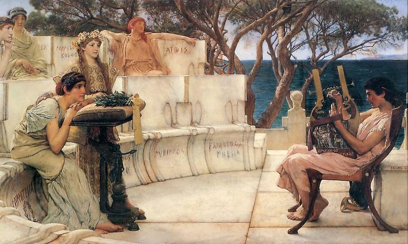 Sappho and Alcaeus. Lawrence Alma-Tadema