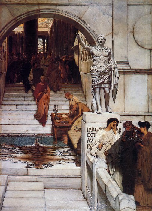 Lawrence Alma-Tadema - An Audience at Agrippas. Lawrence Alma-Tadema