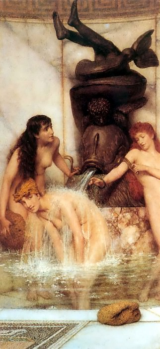 Strigils and sponges. Lawrence Alma-Tadema
