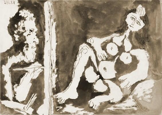 1964 Peintre et modКle avec un noeud dans les cheveux. Pablo Picasso (1881-1973) Period of creation: 1962-1973
