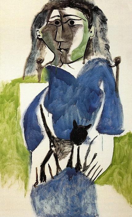 1964 Femme au chat noir, robe bleue. Пабло Пикассо (1881-1973) Период: 1962-1973