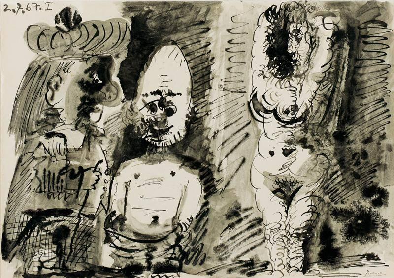1967 Nu avec deux personnages. Пабло Пикассо (1881-1973) Период: 1962-1973