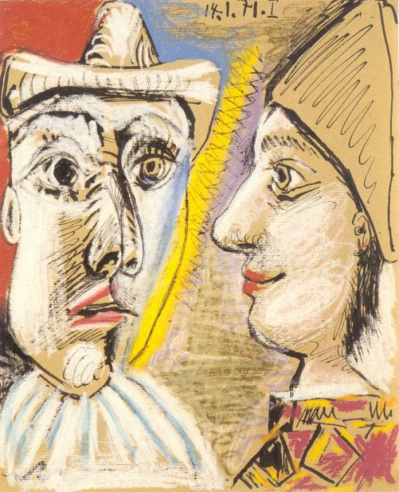 1971 Pierrot et arlequin de profil. Пабло Пикассо (1881-1973) Период: 1962-1973
