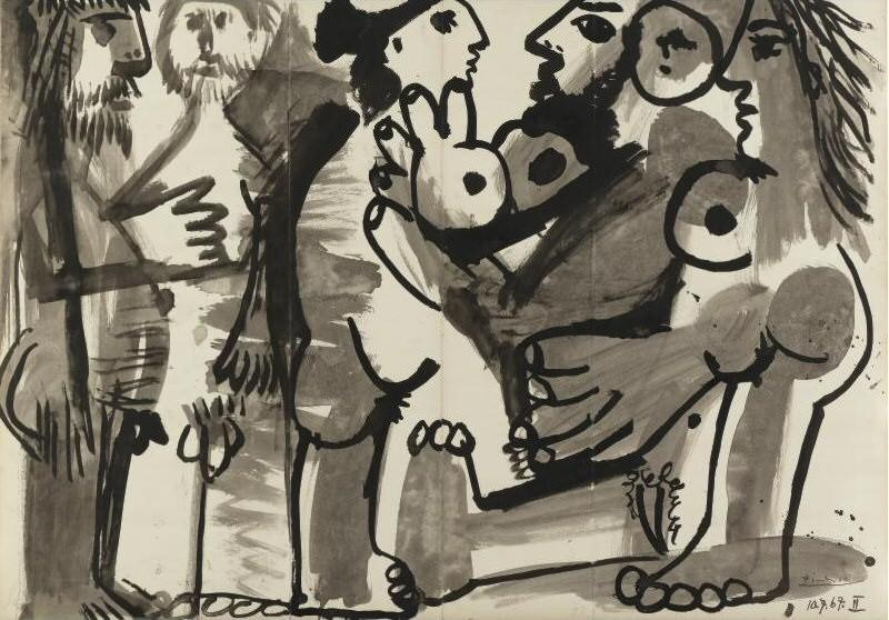 1967 Femmes et hommes nus debout. Pablo Picasso (1881-1973) Period of creation: 1962-1973