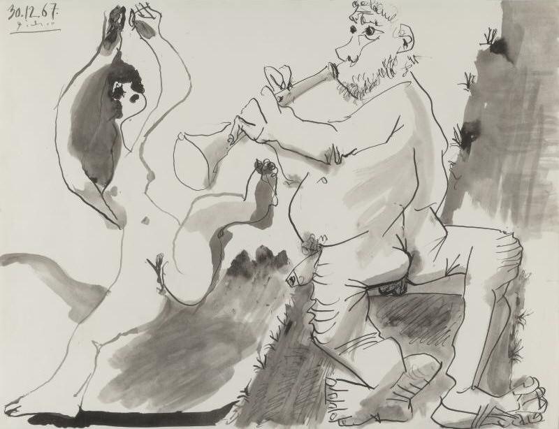 1967 Danseuse et musicien nus. Pablo Picasso (1881-1973) Period of creation: 1962-1973