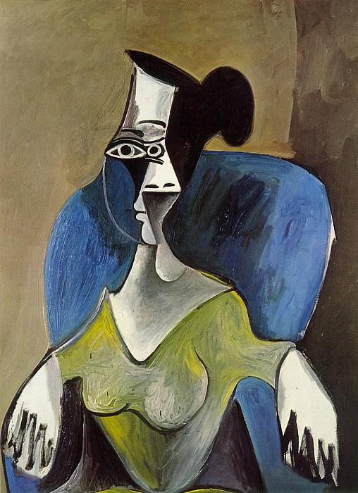 1962 Femme assise dans un fauteuil bleu. Пабло Пикассо (1881-1973) Период: 1962-1973