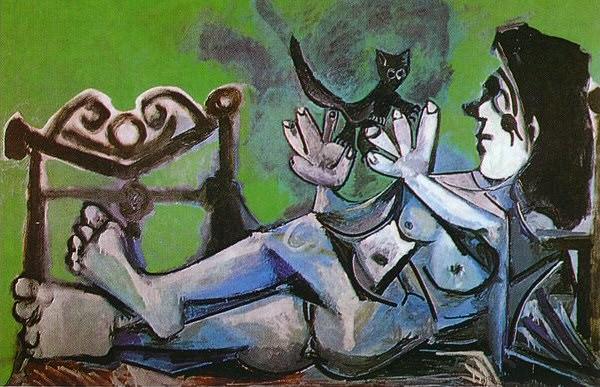 1964 Femme nue couchВe jouant avec un chat 3. Pablo Picasso (1881-1973) Period of creation: 1962-1973