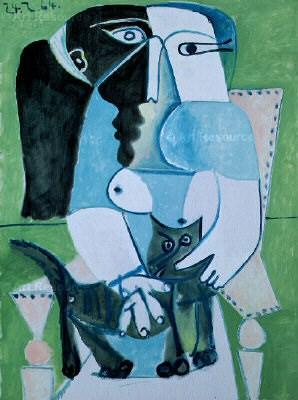 1964 Femme au chat assise dans un fauteuil. Пабло Пикассо (1881-1973) Период: 1962-1973