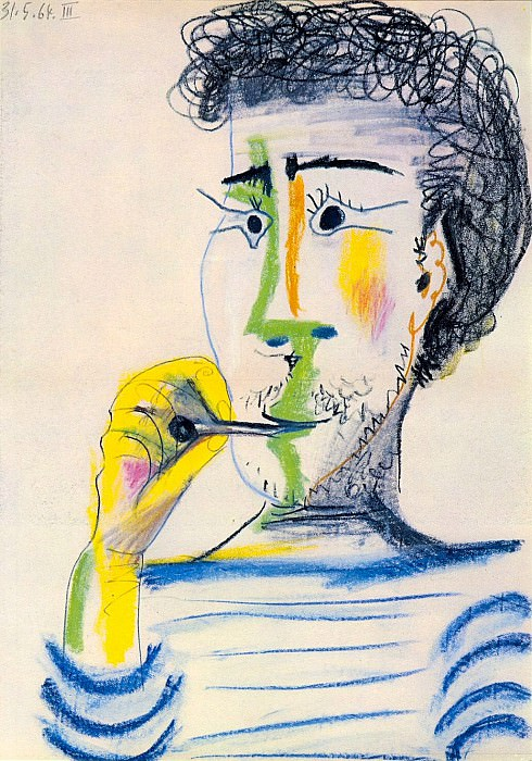 1964 TИte dhomme barbu Е la cigarette III. Pablo Picasso (1881-1973) Period of creation: 1962-1973