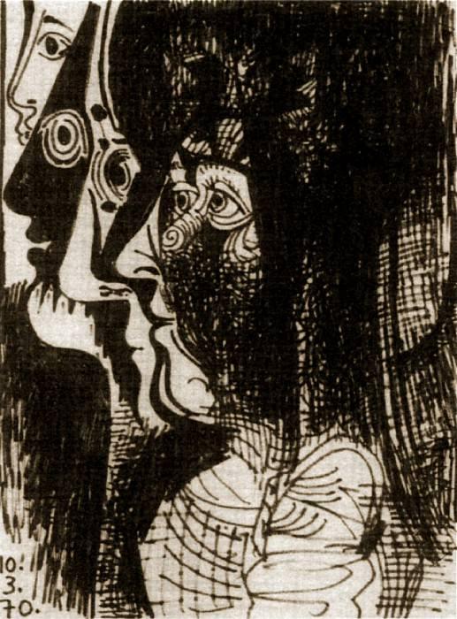 1970 Profils. Пабло Пикассо (1881-1973) Период: 1962-1973