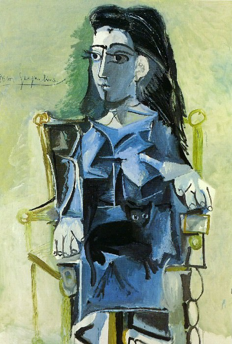 1964 Jacqueline assise avec son chat. Pablo Picasso (1881-1973) Period of creation: 1962-1973