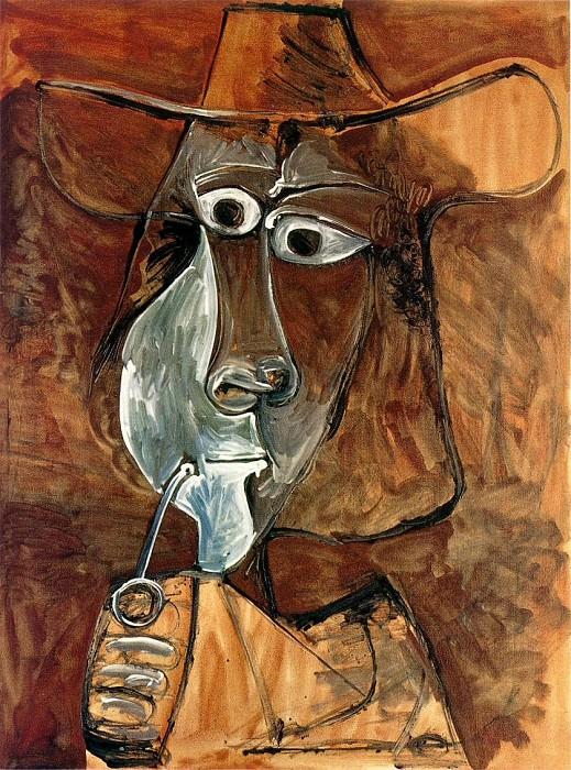 1969 Homme Е la pipe. Пабло Пикассо (1881-1973) Период: 1962-1973