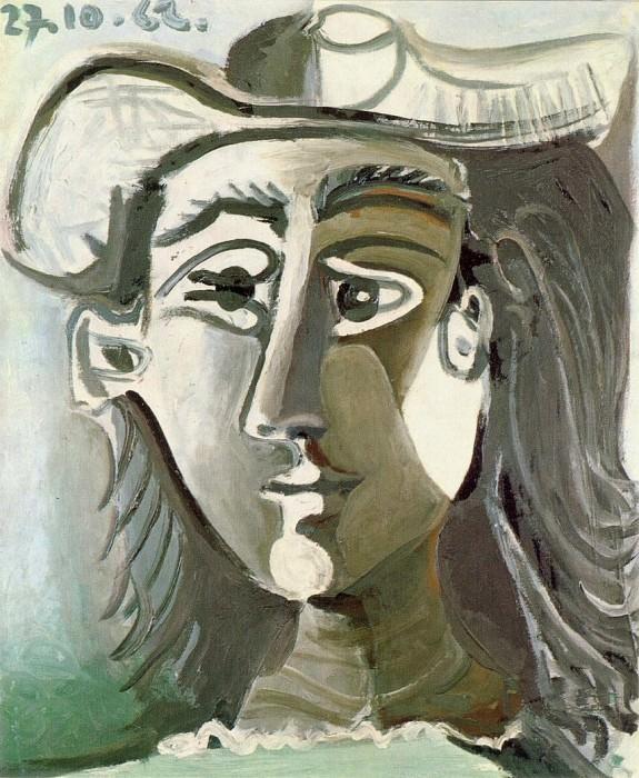 1962 TИte de femme au chapeau. Пабло Пикассо (1881-1973) Период: 1962-1973