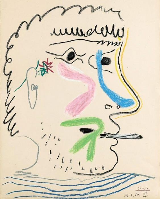 1964 TИte dhomme Е la cigarette. Пабло Пикассо (1881-1973) Период: 1962-1973