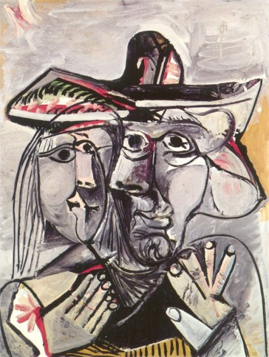 1971 Buste dhomme au chapeau et tИte de femme. Pablo Picasso (1881-1973) Period of creation: 1962-1973