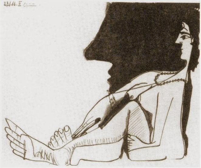 1966 Femme assise de profil. Pablo Picasso (1881-1973) Period of creation: 1962-1973